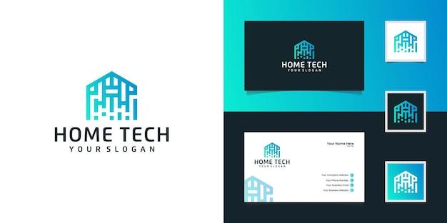 Streszczenie Technika Do Domu Z Logo W Stylu Linii Sztuki I Wizytówką Premium Wektorów