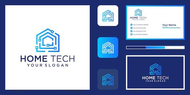 Streszczenie Technika Do Domu Z Logo W Stylu Sztuki Linii I Wizytówką Premium Wektorów