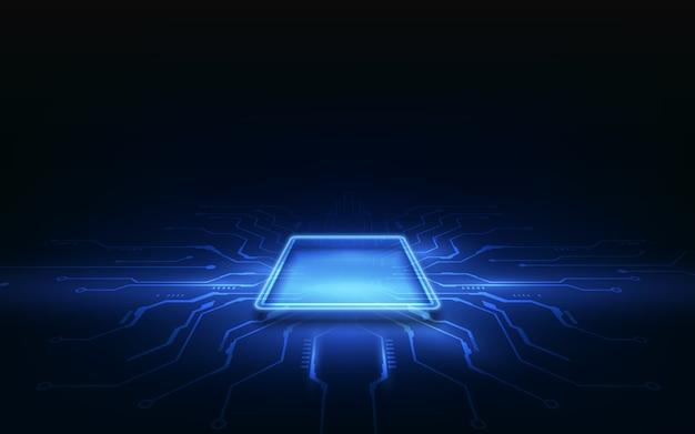 Streszczenie Technologia Chip Procesor Tło Płytka Drukowana Premium Wektorów