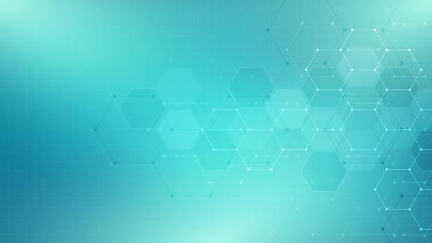 Streszczenie Technologia Lub Tło Medyczne Z Wzorem Kształtu Sześciokątów Premium Wektorów