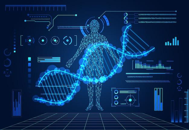 Streszczenie Technologii Koncepcja Ludzkiego Ciała Cyfrowa Opieka Zdrowotna Premium Wektorów