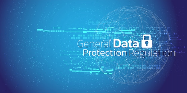 Streszczenie tle bezpieczeństwa cybernetycznego i informacji lub ochrony sieci. Premium Wektorów