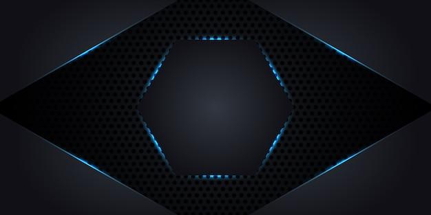 Streszczenie tło ciemnego metalu z sześciokątem w centrum z neonów i świecących linii. Premium Wektorów