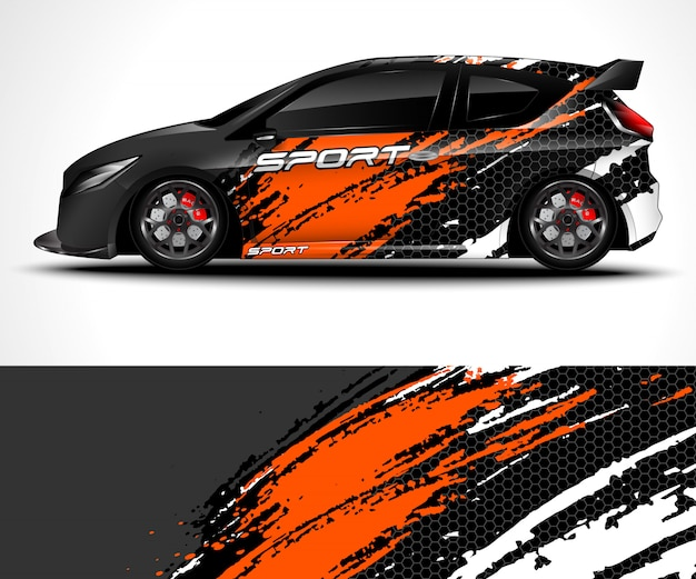 Streszczenie Tło Dla Wyścigów Sport Car Wrap Projekt I Barwa Pojazdu Premium Wektorów