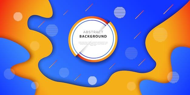 Streszczenie tło geometryczne kolory niebieski i pomarańczowy. futurystyczny projekt plakatu z płynnymi kształtami gradientu. ilustracji wektorowych Premium Wektorów