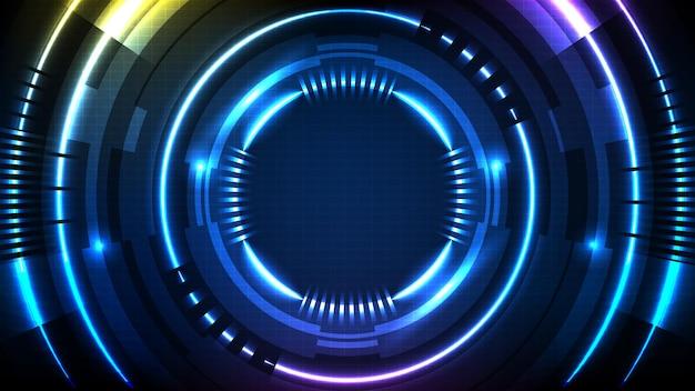 Streszczenie Tło Niebieski Futurystyczny Interfejs Wyświetlacza Hud Technologii Premium Wektorów