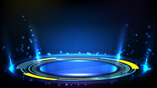 Streszczenie Tło Niebieski Interfejs Wyświetlacza Hud Futurystycznej Technologii Premium Wektorów