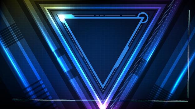 Streszczenie Tło Niebieski świecący Trójkąt Gwiazda Technologia Sci Fi Rama Hud Ui Premium Wektorów