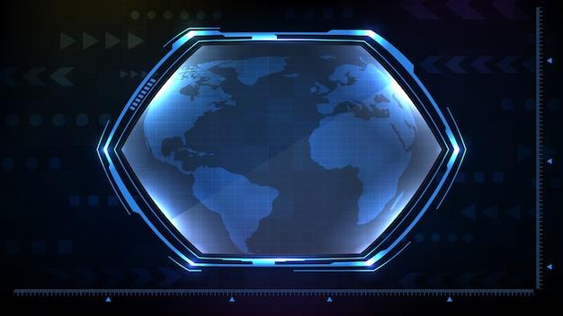 Streszczenie Tło Niebieskie świecące Sześciokątne Gwiazdy Technologii Sci Fi Ramki Hud Ui Premium Wektorów