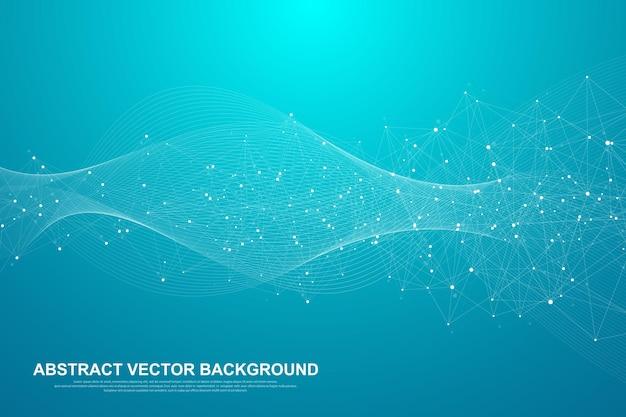 Streszczenie Tło Splotu Z Połączonymi Liniami I Kropkami. Premium Wektorów