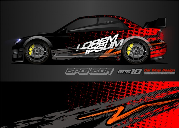 Streszczenie Tło Wektor Wyścigowy Projekt Opakowania Samochodu I Barwę Pojazdu Premium Wektorów