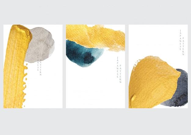 Streszczenie Tło Wzór Japońskiej Fali I Ikona. Złoty Element Z Szablonem Tekstury Akwarela W Stylu Azjatyckim. Premium Wektorów