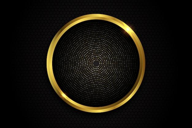 Streszczenie Tło Z Brokatem Złoty Okrąg Premium Wektorów