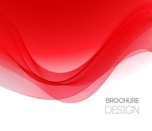 Streszczenie Tło Z Czerwoną Gładką Falą Koloru. Kolorowe Faliste Linie Premium Wektorów