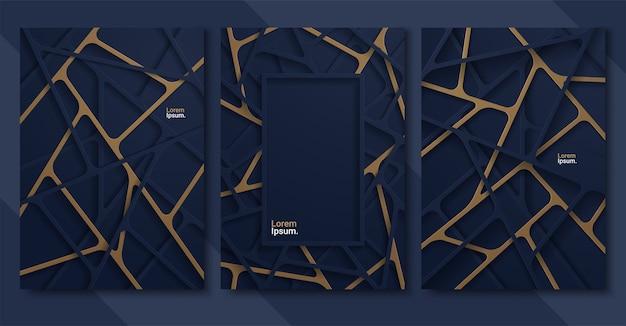 Streszczenie Tło Z Liniowymi Kształtami Ciemnoniebieskiego Papieru Premium Wektorów