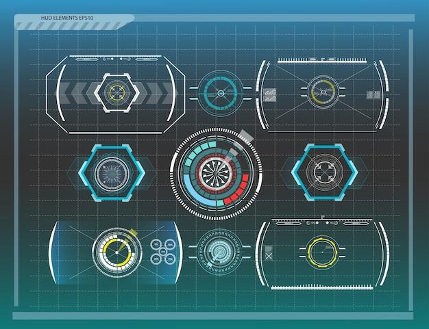 Streszczenie Tło Z Różnymi Elementami Hud. Elementy Hud. Ilustracja. Elementy Wyświetlania Head-up Dla Elementów Graficznych Informacji. Premium Wektorów