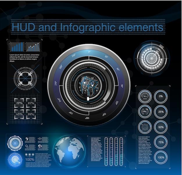 Streszczenie Tło Z Różnymi Elementami Hud. Elementy Hud, Wykres. Ilustracja Elementy Wyświetlania Head-up Dla Elementów Infografiki. Premium Wektorów
