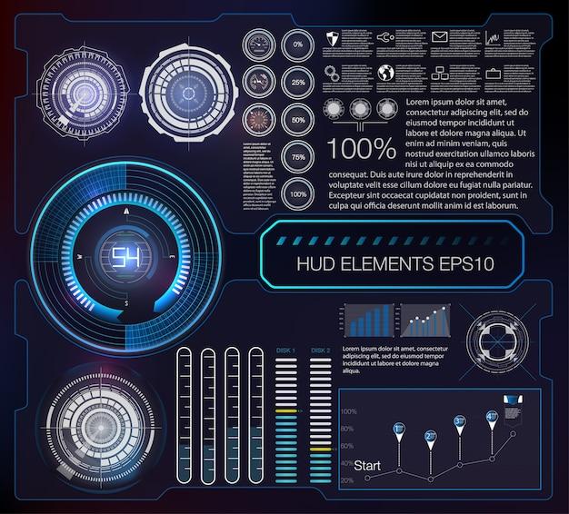 Streszczenie Tło Z Różnymi Elementami Hud. Elementy Hud. Premium Wektorów