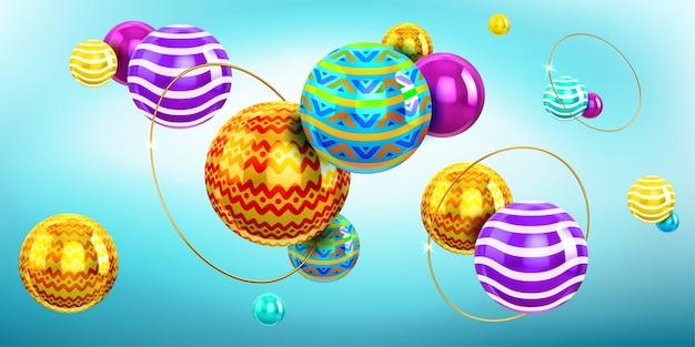Streszczenie Tło Z Sferami 3d I Złote Pierścienie. Holograficzna Kompozycja Kulek Z Kolorowym Wzorem I Ornamentem Oraz Złote Pierścienie. Nowoczesne Kreatywne Geometryczne Tapety Darmowych Wektorów