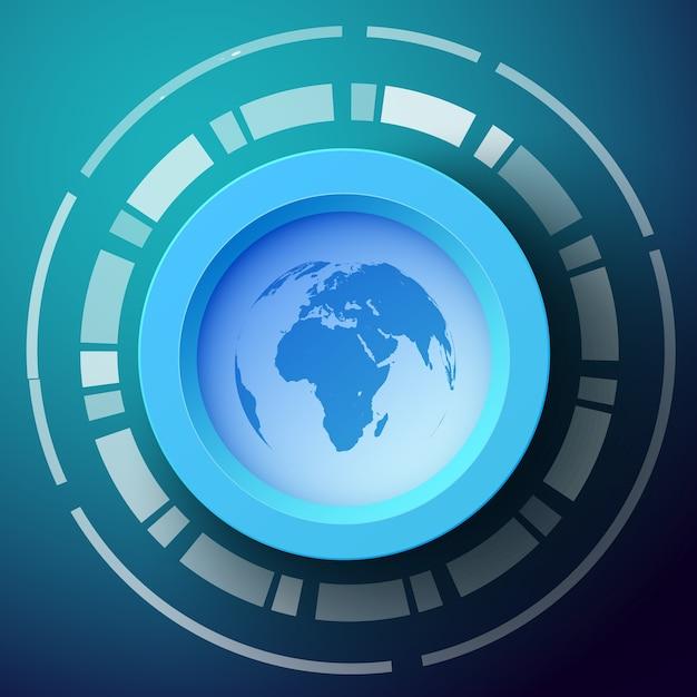 Streszczenie Tło Z Sylwetka Mapy świata Na Okrągły Kształt Darmowych Wektorów