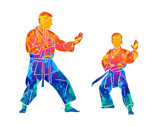 Streszczenie Trener Z Młodym Chłopcem W Kimono Trenuje Karate Z Plusku Akwareli. Ilustracja Farb Premium Wektorów
