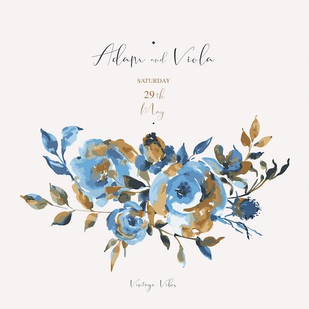 Streszczenie turkusowe róże, kwiaty, vintage kartkę z życzeniami. naturalne niebieskie kwiatowe elementy Premium Wektorów