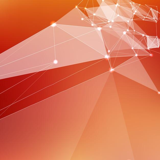 Streszczenie wektora czerwone t? o oczek. chaotycznie połączone punkty i wielokąty latające w kosmosie. latające gruzy. futurystyczny styl technologii karty. linie, punkty, okręgi i płaszczyzny. futurystyczny wygląd. Darmowych Wektorów