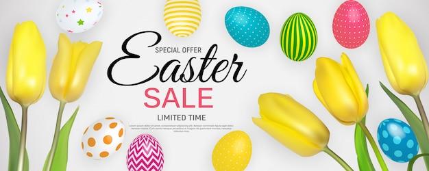 Streszczenie Wielkanocnej Sprzedaży Szablonu Tła Ilustracji Premium Wektorów