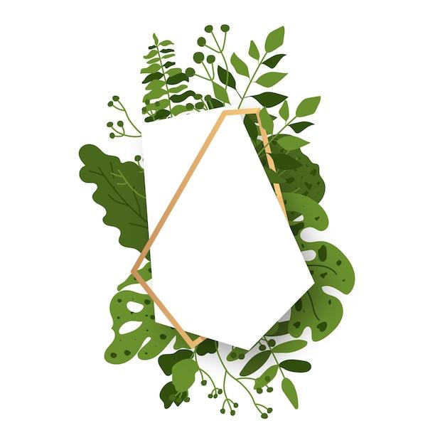 Streszczenie Wielościan Złoty Kwiatowy Rama Z Zielonych Egzotycznych Liści Tropikalnych. Premium Wektorów