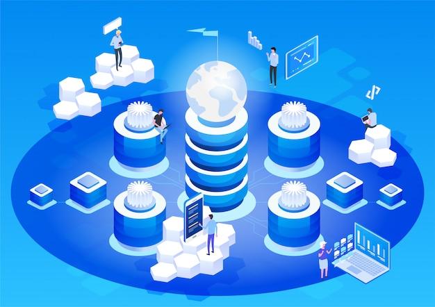 Streszczenie Wysokiej Technologii Koncepcji. Przechowywanie Danych Biznes W Technologii Chmury Internetowej. Premium Wektorów