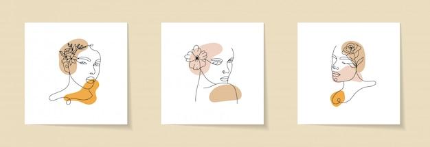 Streszczenie Zestaw Z Elementami Twarz Kobiety, Sylwetka I Kwiatowy Premium Wektorów