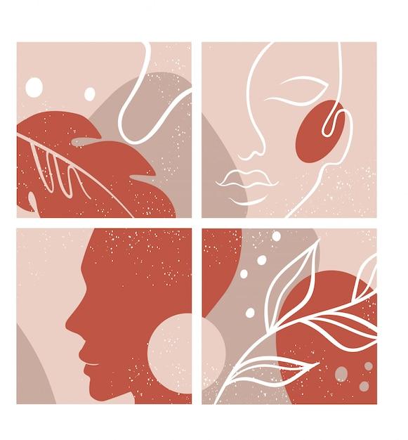 Streszczenie zestaw z twarz kobiety, sylwetka, elementy kwiatowe jeden rysunek linii. Premium Wektorów
