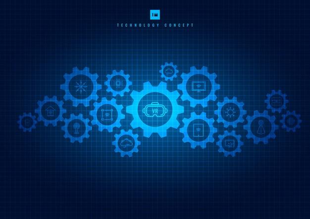 Streszczenie Zintegrowana Technologia Narzędzi I Ikon Premium Wektorów