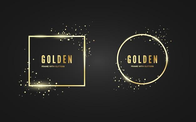 Streszczenie Złotej Ramie Z Efektem Brokatu I Sparcle Na Baner I Plakat. Złote Ramki W Kształcie Kwadratu I Koła. Pojedynczo Na Czarnym Tle Premium Wektorów