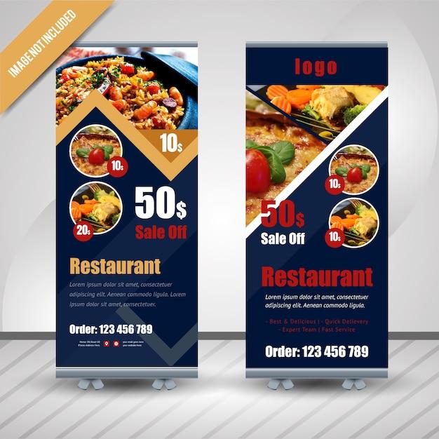 Streszczenie żywności Roll Up Dla Restauracji Premium Wektorów