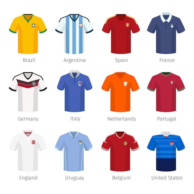 Strój Piłkarski Lub Piłka Nożna Drużyn Narodowych. Argentyna Brazylia Hiszpania Francja Niemcy Włochy Holandia Portugalia Anglia. Darmowych Wektorów