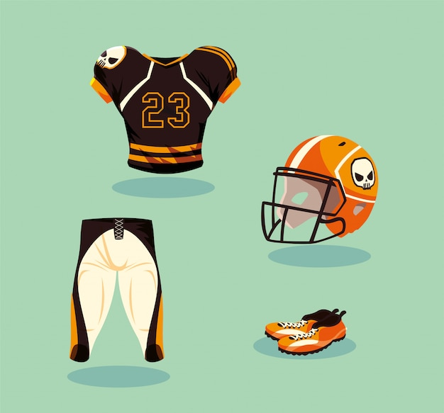 Strój Zawodnika Futbolu Amerykańskiego W Kolorze Pomarańczowym I Czarnym Premium Wektorów