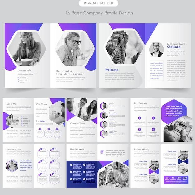 Strona Broszury Profilu Firmy Premium Wektorów
