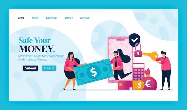 Strona docelowa bezpiecznych pieniędzy. Premium Wektorów