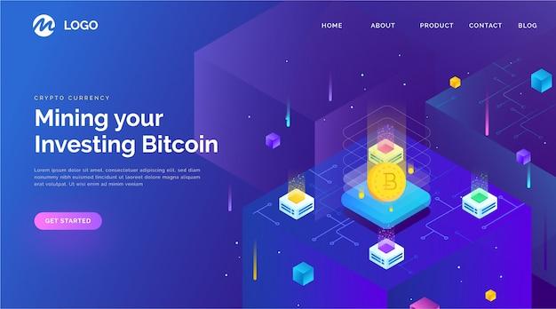 Strona Docelowa Blockchain W Stylu Izometrycznym Premium Wektorów