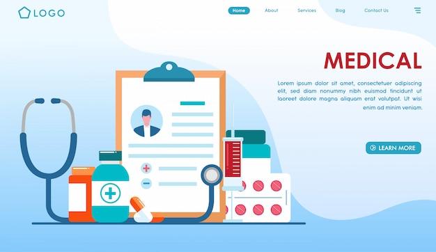 Strona docelowa czeku medycznego w płaski Premium Wektorów