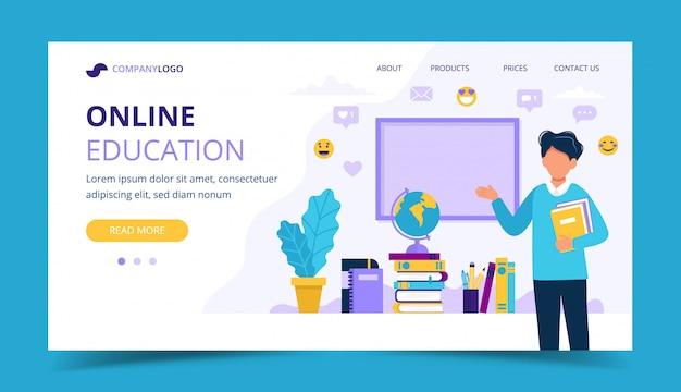 Strona docelowa edukacji online. męski nauczyciel z książkami i chalkboard. Premium Wektorów