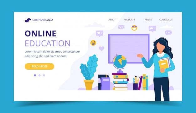 Strona Docelowa Edukacji Online. Nauczycielka Z Książek I Tablicy. Premium Wektorów