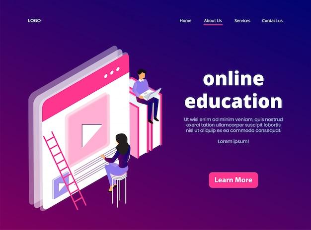 Strona Docelowa Edukacji Online Premium Wektorów