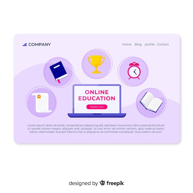 Strona Docelowa Edukacji Online Darmowych Wektorów