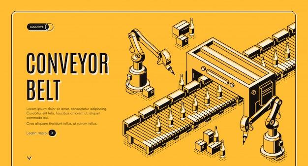 Strona Docelowa Fabrycznego Przenośnika Taśmowego. Ramiona Robotów. Darmowych Wektorów