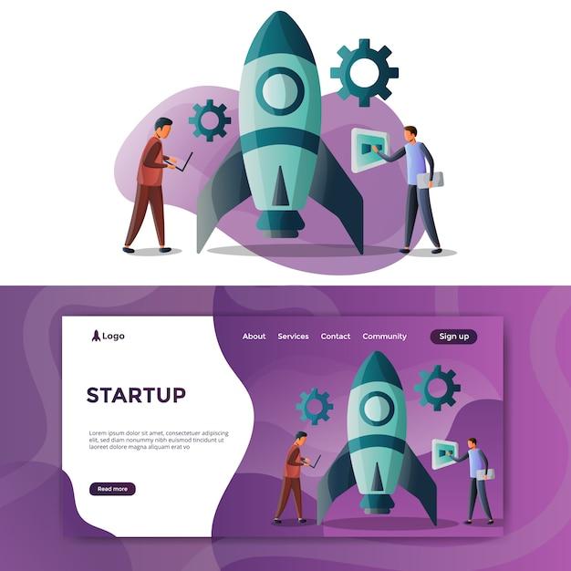 Strona docelowa ilustracji startowej Premium Wektorów
