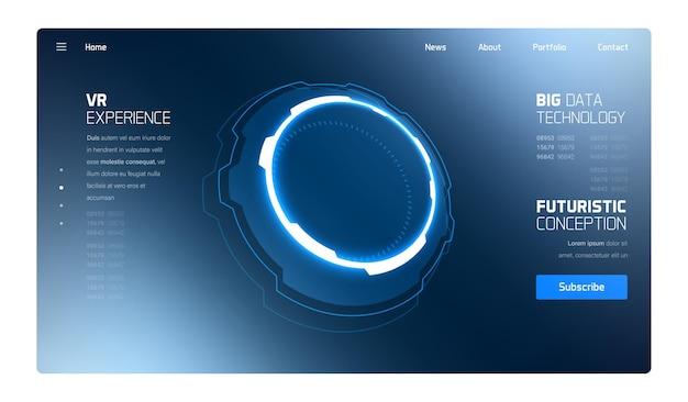 Strona Docelowa Interfejsu Hud 3d Futurystycznej Technologii Premium Wektorów