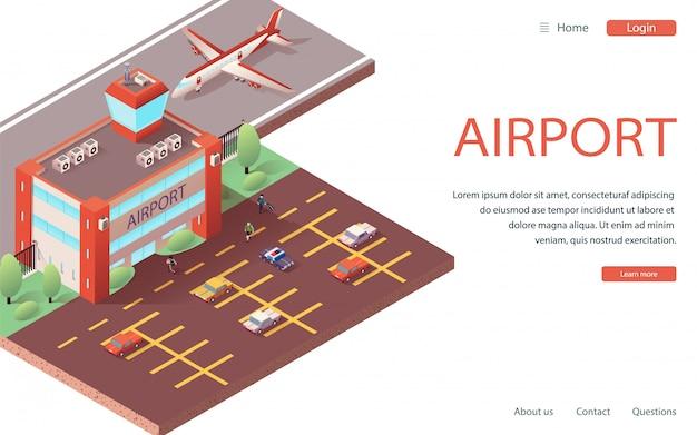Strona Docelowa Izometryczny Nowoczesny Terminal Lotniska Premium Wektorów