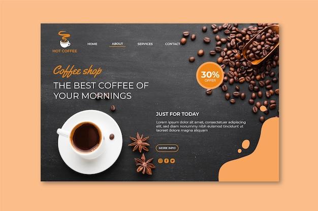 Strona Docelowa Kawiarni Premium Wektorów